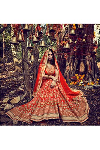 Da Facioun Womens Silk Fabric Orange Pretty Circular Lehenga Style 81120