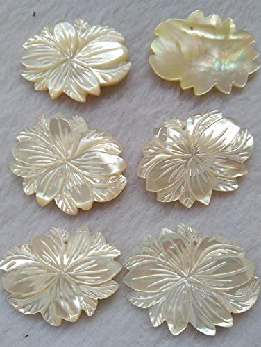 60x40mm Genuine Pearl Shell Beads Flower fluorial Oval Egg Carved Pendants Petal Leaf Pendants Pearl Shell Jewelry 6PCS ()
