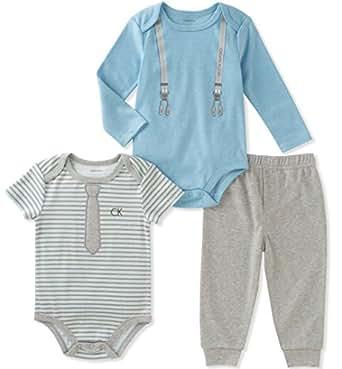 Calvin Klein Baby Boys' 3 Pieces Bodysuit Pant Set, Powder Blue, 0-3 Months