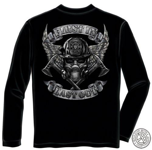 (Firefighter 100% Cotton Steel Fire Wings Firefighter Long Sleeve T-Shirts XL)