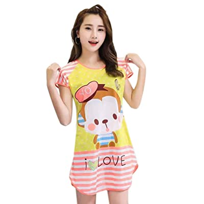 ICCQ Women Night Dress, Short Sleeve Night Gown, Cartoon Printed Loose Sleepwear (T): Clothing