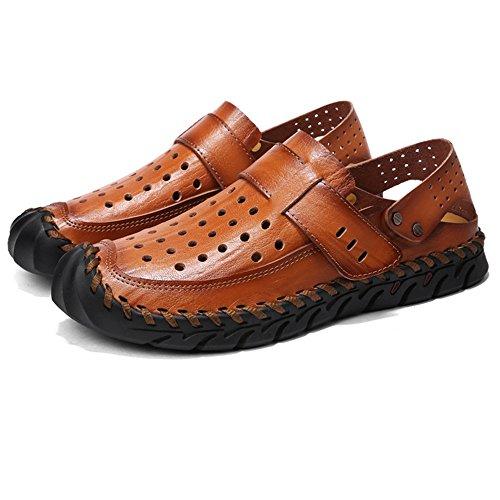 Uomo Da Casual spiaggia da pantofole Casual Sandali Sandali Wagsiyi Marroni Scarpe Dimensione Nero EU Scarpe In Marrone 40 Comode Colore Estivi Pelle tIqwWgZ8