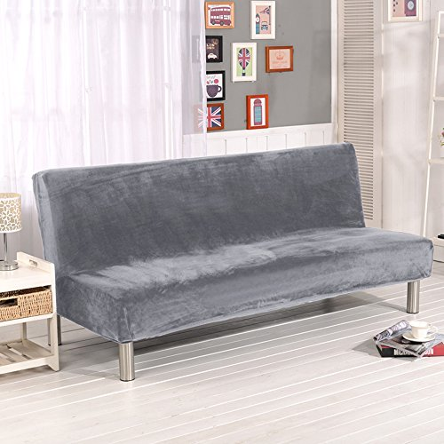 Solid Color Plush Folding Armless Sofa Futon Cover Modern Simple Home Folding Furniture Seater Protector Couch Slipcovers (Silver grey)