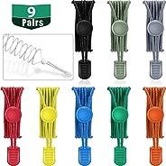 9 Pairs No Tie Elastic Shoelaces Adjustable Lock Tieless for Adults Kids Sneakers