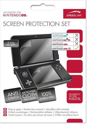 Speedlink Bildschirmschutzfolie für den Nintendo 3DS XL (schützt das Display, Mikrofasertuch und Rakel)