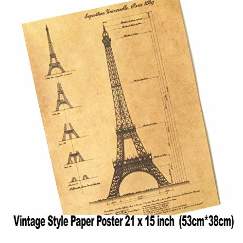 (Mixed order and combine shipping XXL Vintage Wall Paris Eiffel Tower Blueprints 21x15 inch Retro Paper Poster)