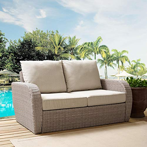Crosley Furniture KO70142WH-OL St. Augustine Outdoor Wicker Loveseat, Weathered White with Oatmeal Cushions