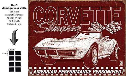Shop72 - Distrssed Tin Sign Corvette - 69 StingRay Metal Sign Poster Garage Sign - With Sticky Stripes . No Damage to - Sign Ray
