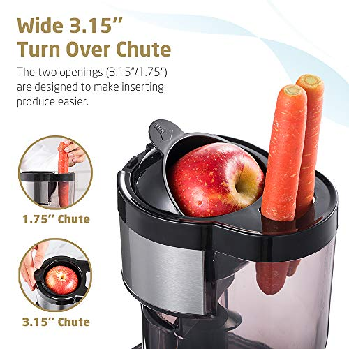 SKG A10 Cold Press Juicer High Yield Juice Extractor, Quiet Anti-Oxidation Easy to Clean 36 RPM 250W AC Motor Large 3.15 Turn Over Big Mouth Fruit and Vegetable Slow Masticating Juicer
