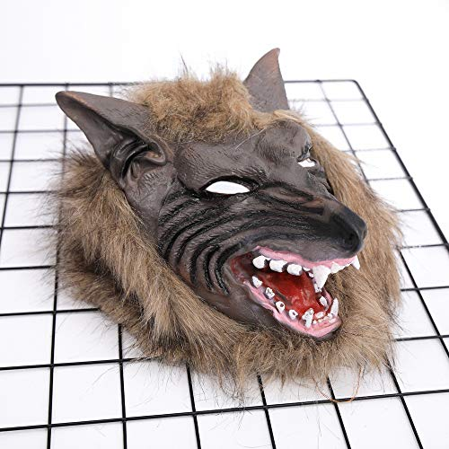 Diy Wolf Hoodie (Halloween Animal Mask Werewolf Full Face Mask BPA Free Rubber Masquerade Costume Cosplay Dress up for Adult Men Womens Spooky Halloween)