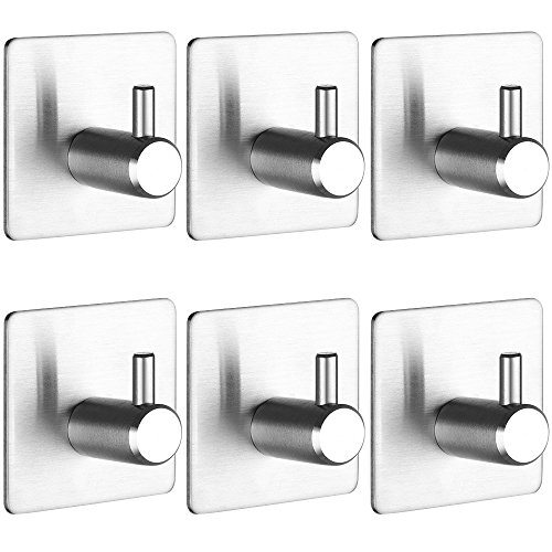 Self Adhesive Hooks, KEKU 6 Pack Heavy Duty Stainless Steel Bathroom Tower Hooks for Closets Coat Robe Hanger Rack Wall Mount by KEKU