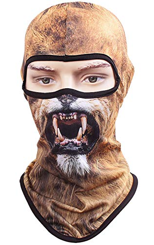 Kingree Balaclava Ski Mask, Motorcycle Helmets Liner Ski Gear Neck Gaiter, Animal Print Series Quick-Dry Mask (09 Lion-Angry)