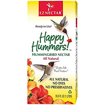 """EZNectar - The Only Ready-to-Use Hummingbird Nectar """"Exactly Like Flower Nectar.""""  Patented , Preservative & Dye Free, Hummingbird Food - Nectar (1 Piece) 33.8 FL OZ TOTAL"""