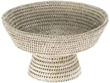 KOUBOO La Jolla Pedestal Rattan Fruit Bowl, White Wash