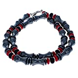 Timeless-Treasures Black Onyx, Red Druk, Hematite (Hemalyke) & Sterling Silver Men's Beaded Necklace