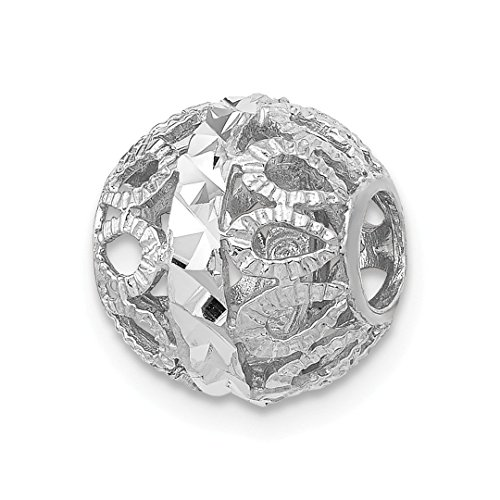 ICE CARATS 14kt White Gold Filigree Ball Necklace Chain Slide Pendant Charm Fine Jewelry Ideal Gifts For Women Gift Set From ()