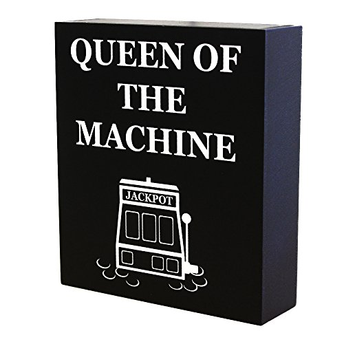 Casino Signs - JennyGems Casino Jackpot Slots Inspired Wood Gift Sign - Queen of the Machine - Slot Machine Keepsake Decoration for Casino Lovers