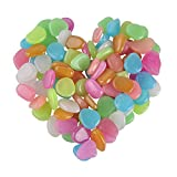 Glow in the Dark Garden Pebbles Stone Luminous Decorative Stones for Your Fantastic Garden or Yard Outdoor Fish Tank in Colorful Color 100Pcs