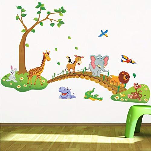 Giraffe Lion Bird - LLLYZZ Cartoon Animals Bridge Wall Stickers for Kids Rooms Home Decor Lion Giraffe Elephant Birds Living Room Bedroom Wall Decals 93137cm