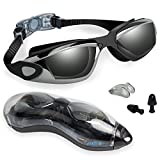 Swimming Goggles, Backever Racing Swim Goggles Black Mirrored Lens Silicone No Leaking Anti Fog UV Protection Triathlon Fashion Swim Glasses with Protection Case for Men Women Adult