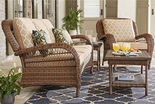 Hampton Bay Beacon Park Steel Wicker Outdoor Sofa with Toffee Cushions