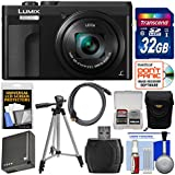 Panasonic Lumix DC-ZS70 4K Wi-Fi Digital Camera (Black) 32GB Card + Case + Battery + Tripod + Kit