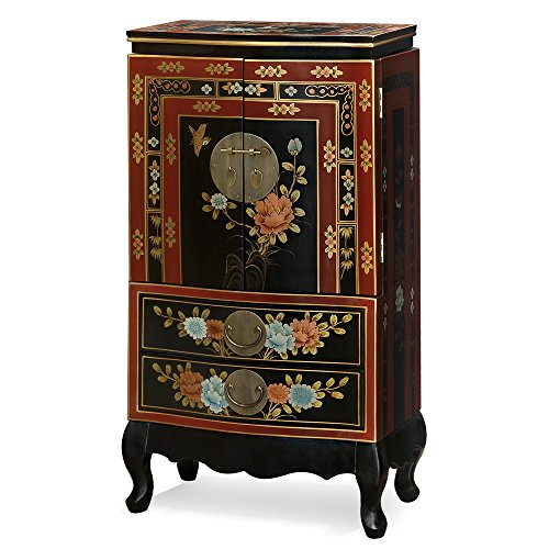 Tibetan Hand Painted Wood Box (China Furniture Online Tibetan Jewelry Armoire, Hand Painted Floral Motif with Bird and Flower Red and Black)