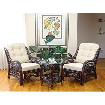 Amazon.com: Jam Rattan Wicker Living Room Set 4 Pieces 2 Lounge ...