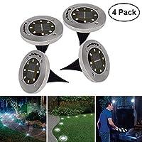 Lampe Solaire au Sol Wivarra 8 lumieres de chemin solaire LED eclairage exterieur impermeable a l'eau de jardin (blanc chaud, paquet de 4)
