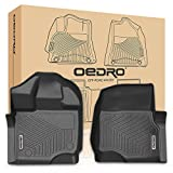 oEdRo Front Floor Mats Liners Compatible for 2015-2019 Ford F-150 SuperCrew Cab - Unique Black TPE All-Weather Guard (1st Row Driver/Passenger Only)