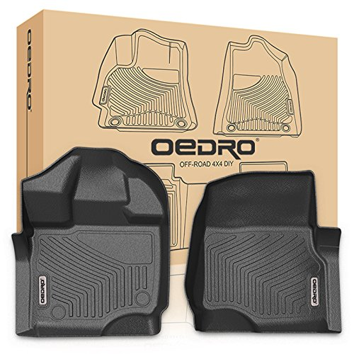 Row Floor Liner (oEdRo F150 Front Floor Mats Liners Super Crew/SuperCab - Unique Black TPE All-Weather Guard, Includes 1st Row Compatible for 2015-2018 Ford Floor Liner (Only 1st Row Driver/Passenger))