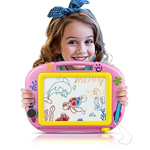 Tesoky Educational Toys for 1-4 Year Old Boys Girls, Toddler Toys for Boys Age 1-4 Magnetic Drawing Board for Kids Birthday Gifts for Girls Age1-4 (Pink A) GGPA