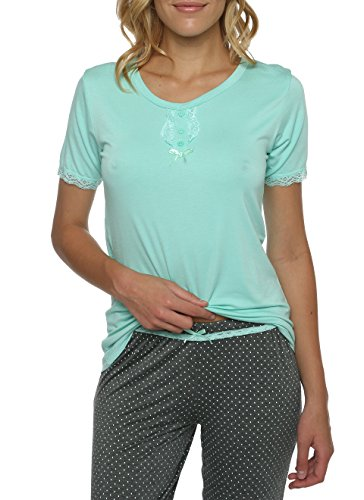kathy ireland Women's Two Piece Sleep Shirt and Polka Dotted Pant Set Mint Green XL