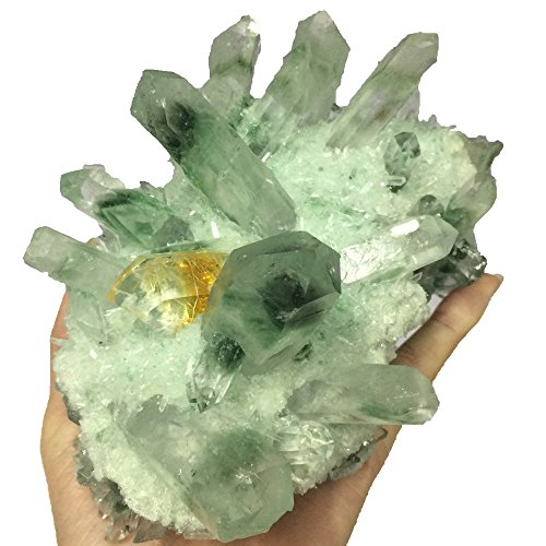 (DingSheng Green Phantom Quartz Cluster Citrine Wand Point Natural Druzy Crystal Specimen about 500-700g)