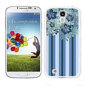 Funda carcasa para Samsung Galaxy S4 diseño ilustración estampado flores azul borde blanco