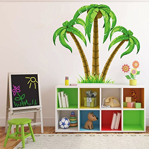 cik195 Full Color Wall decal palm trees coconuts