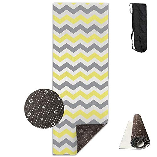 Grey And Orange Chevron Pattern Deluxe,Yoga Mat Aerobic Exercise Pilates Anti-slip Gymnastics Mats