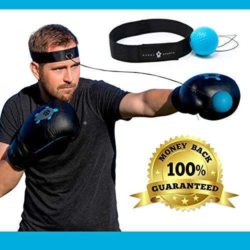 Kakoa Sports Boxing Reflex Ball - Great Training for Accuracy, Speed, Hand Eye Coordination, Reaction Time, Punching | MMA Equipment, Gear, Trainer | Punch Fight Balls on -