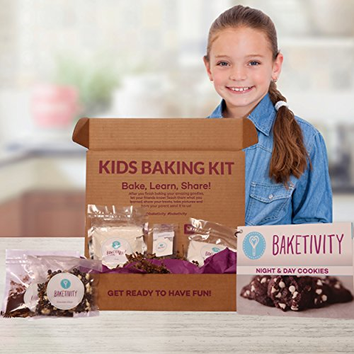 Price comparison product image Baketivity Kids Baking Set,  Meal Cooking Party Supply Kit for Teens,  Real Fun Little Junior Chef Essential Kitchen Lessons,  Includes Pre-Measured Ingredients,  Chocolate Chunk Cookies