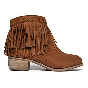 Low Heel Fringe Ankle Bootie – Western Closed Toe Boot – Casual Comfortable Cowboy Walking Shoe - Bree by J. Adams