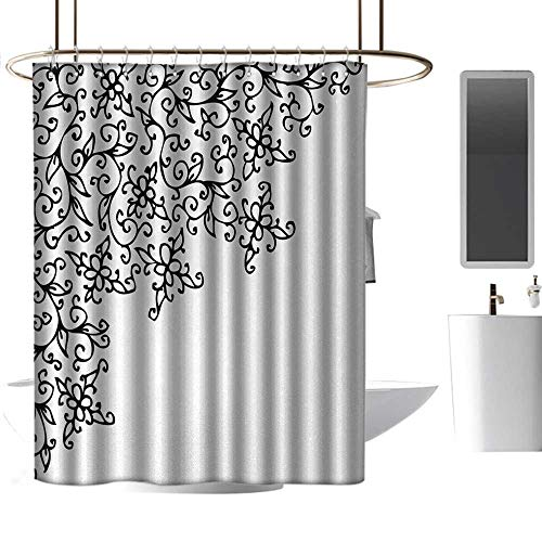 Kids Bathroom Shower Curtain Abstract Floral Vignette Design Swirled Rococo Style Ornament Artistic Nature Pattern Western Shower Curtains W36 x -