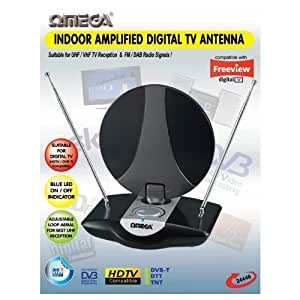 Omega 24446 Indoor UHF TV Antenna Amplified Aerial Digital Freeview DAB FM Radio by Omega