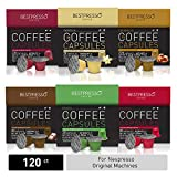 Bestpresso Coffee for Nespresso Original Machine 120 pods Certified Genuine Espresso Variety Pack mix Flavored and Dark roast, Pods Compatible with Nespresso Original