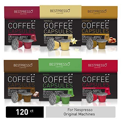 (Bestpresso Coffee for Nespresso Original Machine 120 pods Certified Genuine Espresso Variety Pack mix Flavored and Dark roast, Pods Compatible with Nespresso Original )