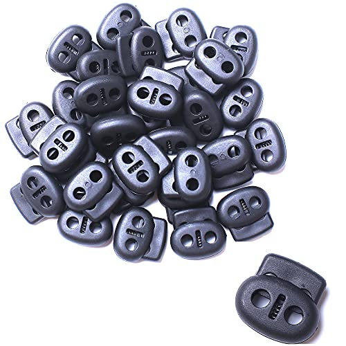AXEN 30PCS Plastic Cord Lock End Toggle Double Hole Spring Stopper Fastener Toggles for Shoelaces, Drawstrings, Paracord, Bags, Clothing and More, Black