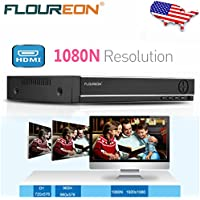FLOUREON 8 Channel AHD 1080N DVR CCTV Security System Video Recorder 5 IN 1 Support TVI/CVI/ONVIF/AHD/Analog Security Surveillance Camera System Mobile Phone Remote View