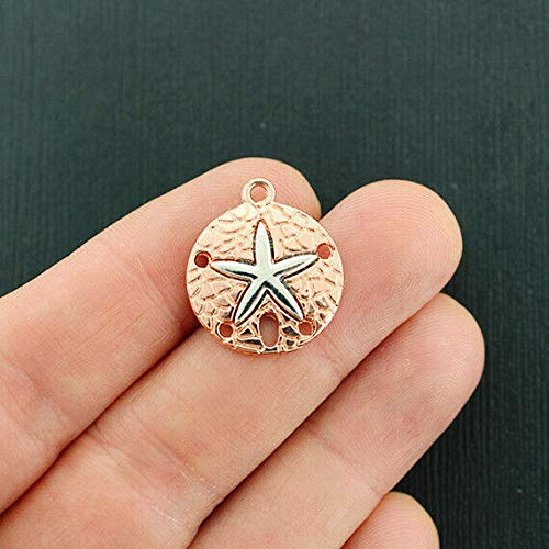 - 2 Sand Dollar Charms Rose Gold Tone with Silver Starfish - GC626