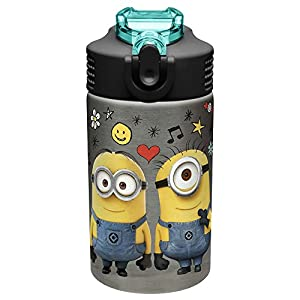 Zak Designs DSML-S730 Stainless Steel Reusable Water Bottle, 15.5 oz, Minions