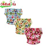 Ohbabyka Baby Training Pants,baby diapers waterproof, 3PCS Pack