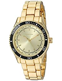 Rampage Women's 'Colored Dial Band' Quartz Metal and Alloy Automatic Watch, Color:Gold-Toned (Model: RP1091GDBK)